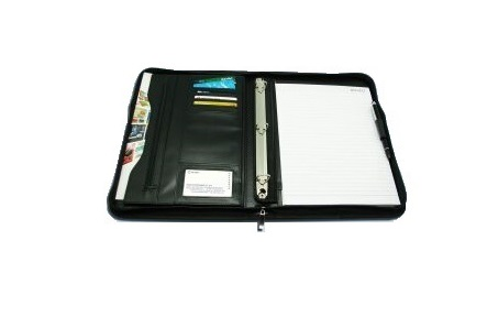 GLOBE A4 3 HOLE PREMIUM VERSION WRITING PAD FOLDER (PU) 525-13 高級仿皮拉鏈會議冊連3孔活頁夾